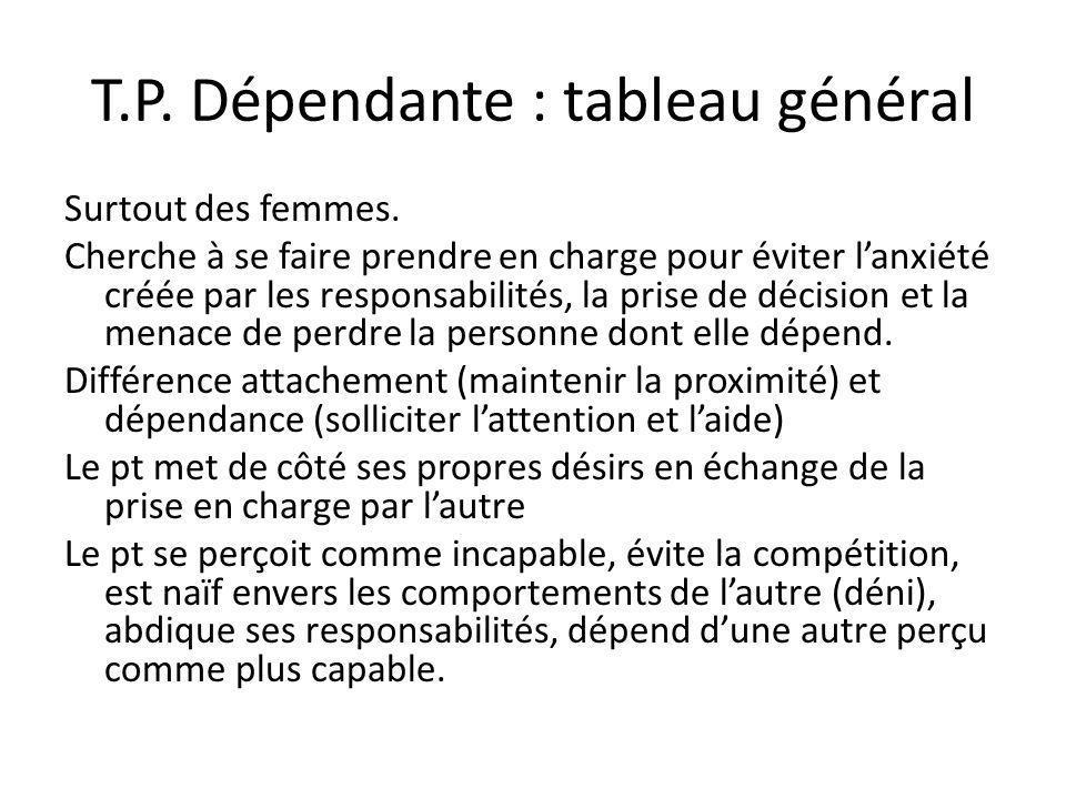 T.P. Dépendante : tableau général