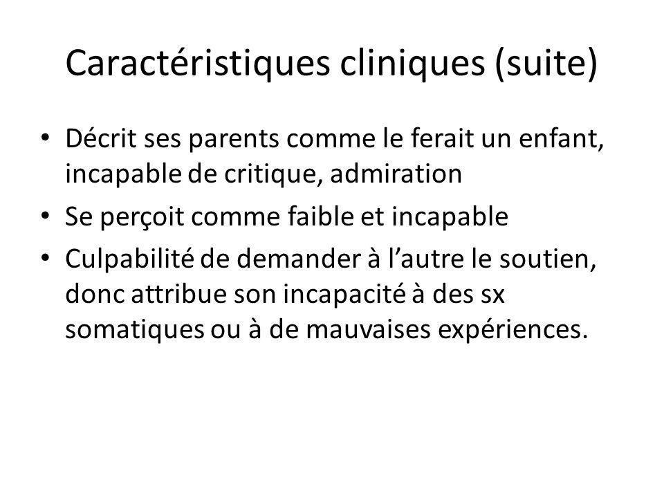 Caractéristiques cliniques (suite)