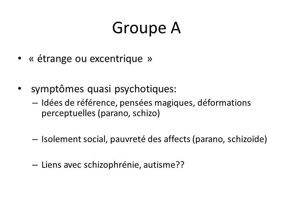 Groupe A « étrange ou excentrique » symptômes quasi psychotiques: