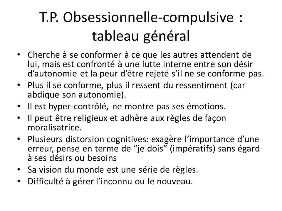 T.P. Obsessionnelle-compulsive : tableau général