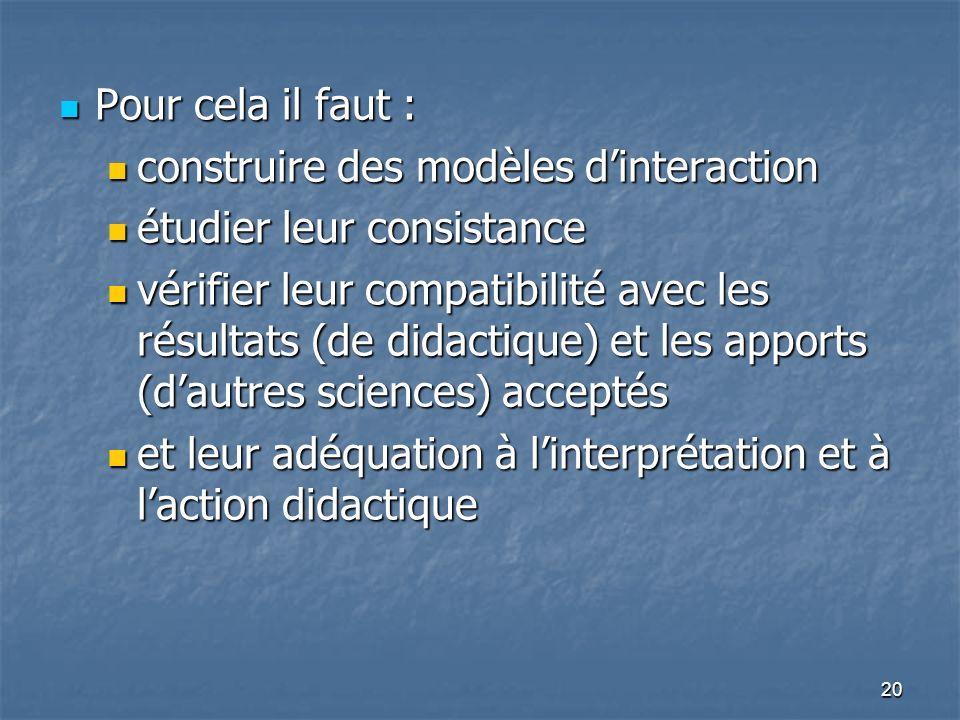 Pour cela il faut : construire des modèles d'interaction. étudier leur consistance.