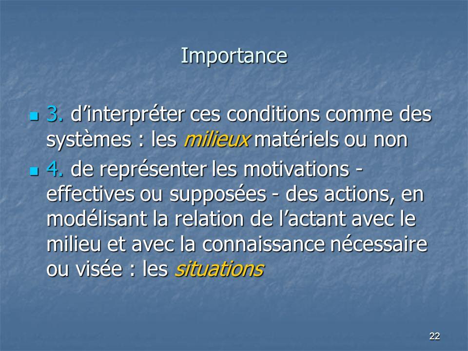 Importance 3. d'interpréter ces conditions comme des systèmes : les milieux matériels ou non.