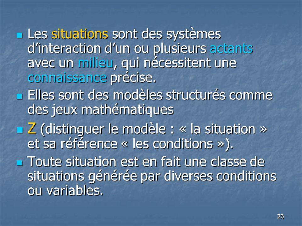 Les situations sont des systèmes d'interaction d'un ou plusieurs actants avec un milieu, qui nécessitent une connaissance précise.
