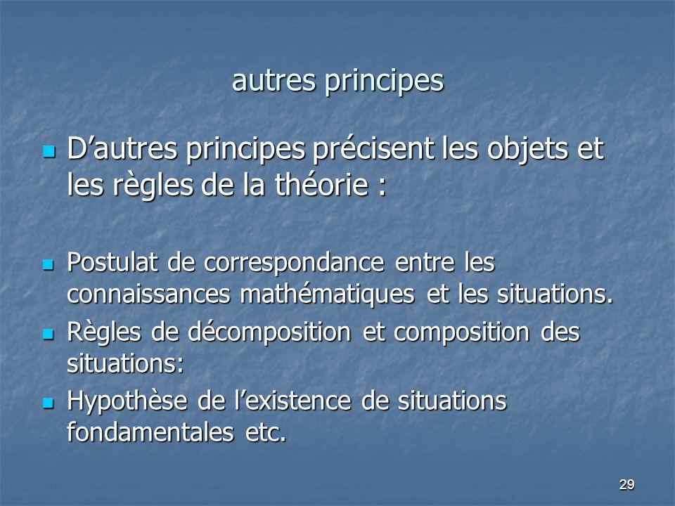 D'autres principes précisent les objets et les règles de la théorie :