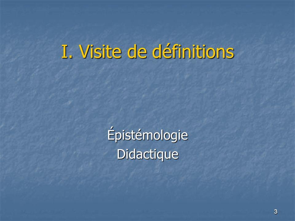 I. Visite de définitions