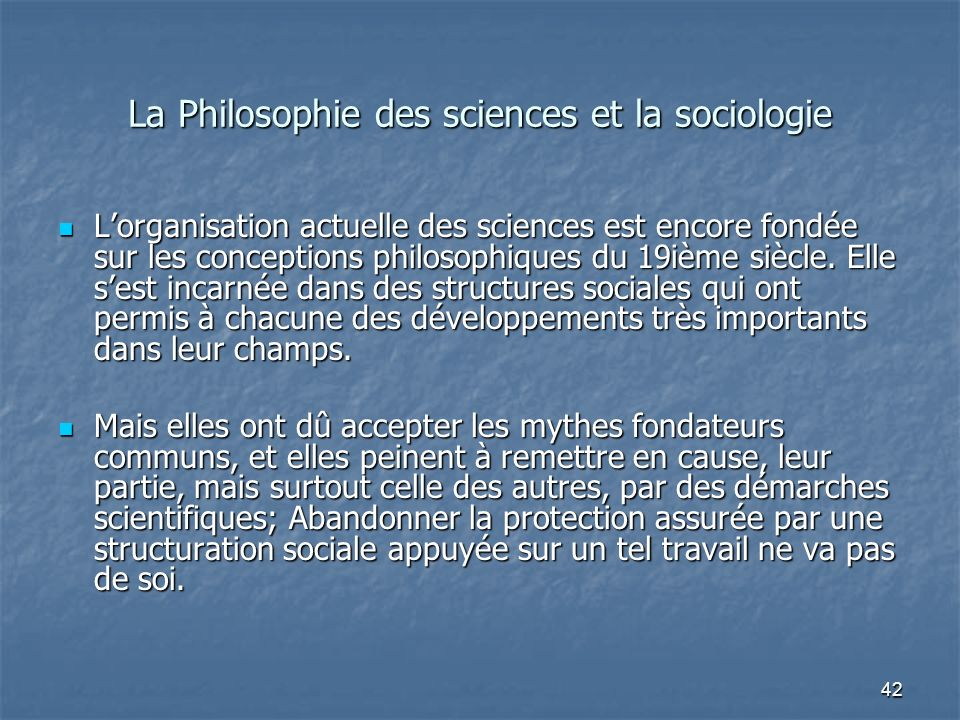 La Philosophie des sciences et la sociologie