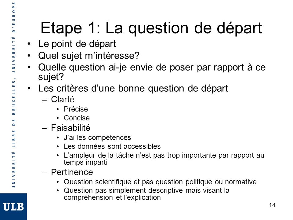 Etape 1: La question de départ