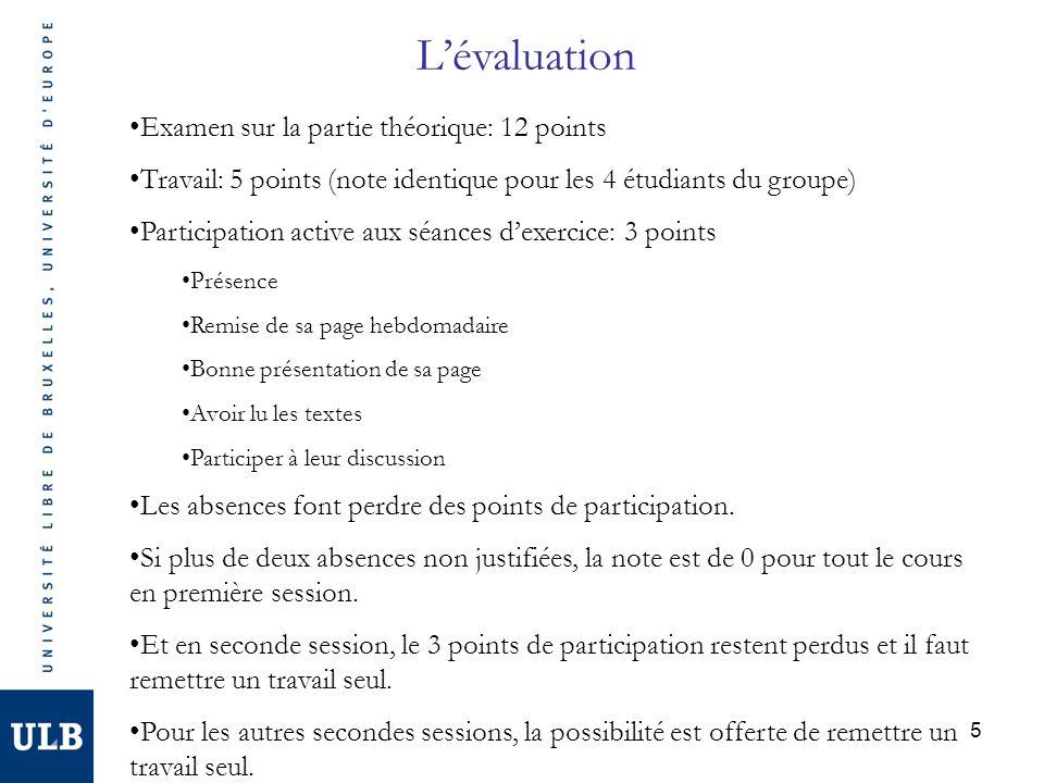L'évaluation Examen sur la partie théorique: 12 points