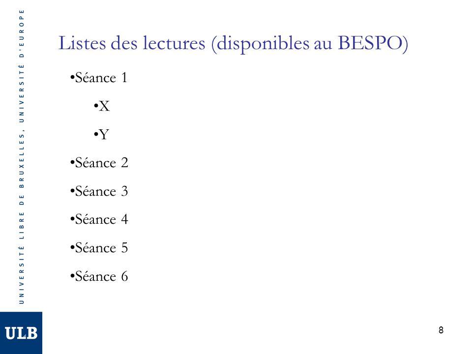 Listes des lectures (disponibles au BESPO)