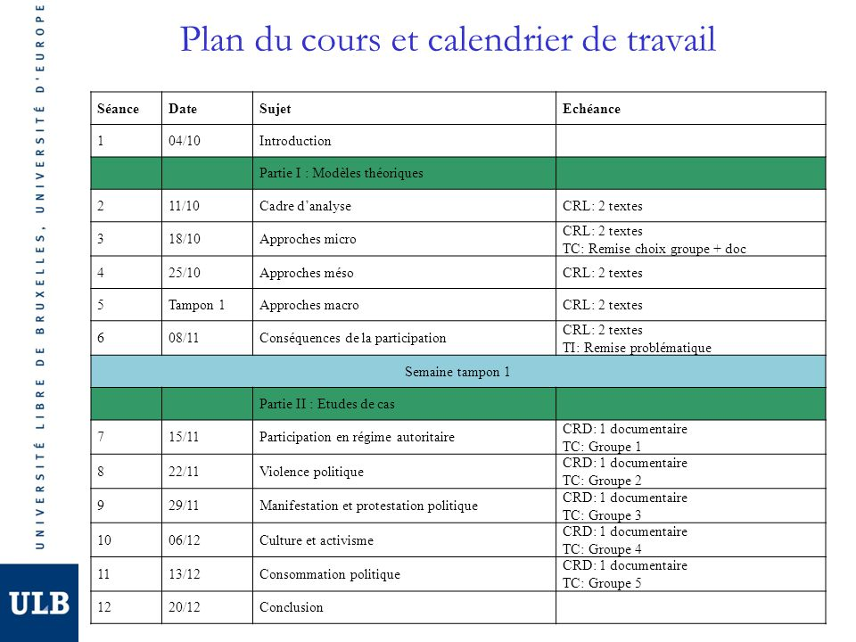 Plan du cours et calendrier de travail