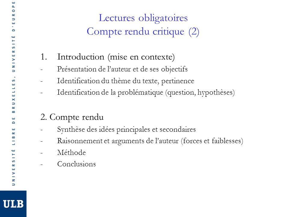 Lectures obligatoires Compte rendu critique (2)