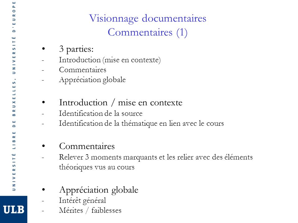 Visionnage documentaires Commentaires (1)