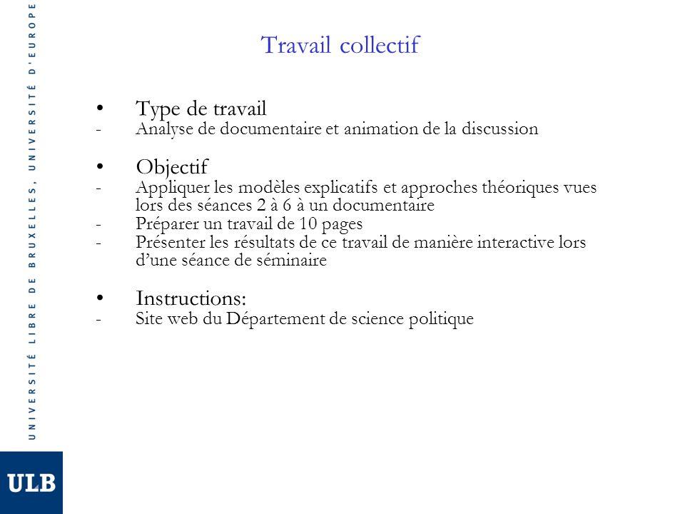 Travail collectif Type de travail Objectif Instructions: