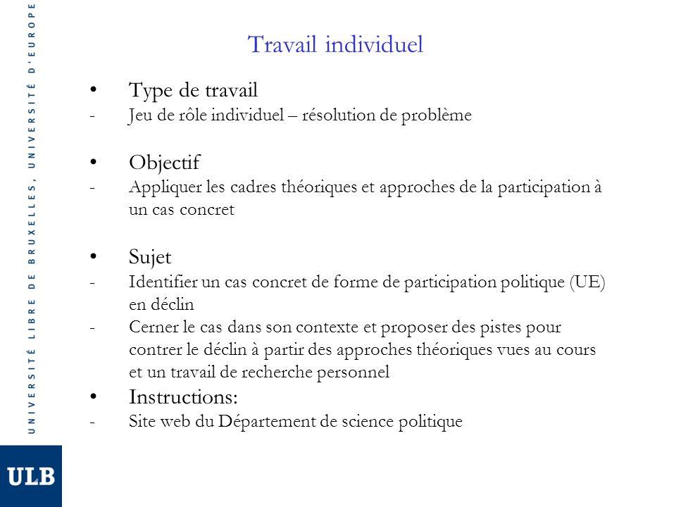 Travail individuel Type de travail Objectif Sujet Instructions: