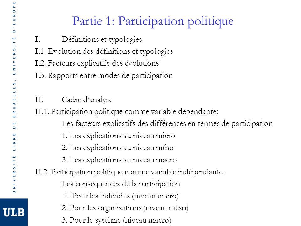 Partie 1: Participation politique