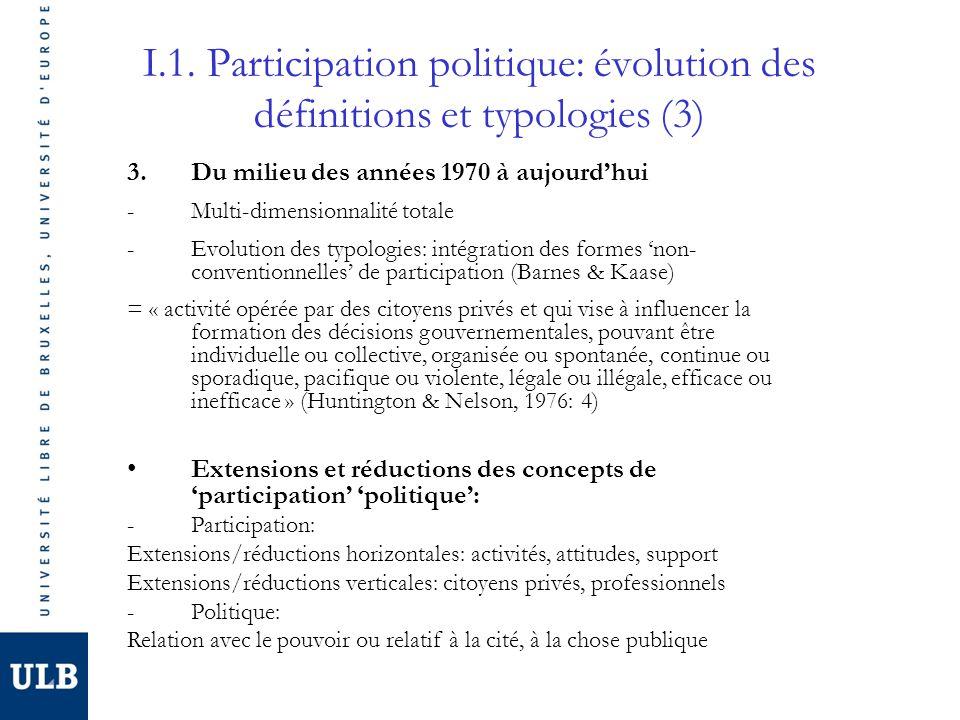 I.1. Participation politique: évolution des définitions et typologies (3)