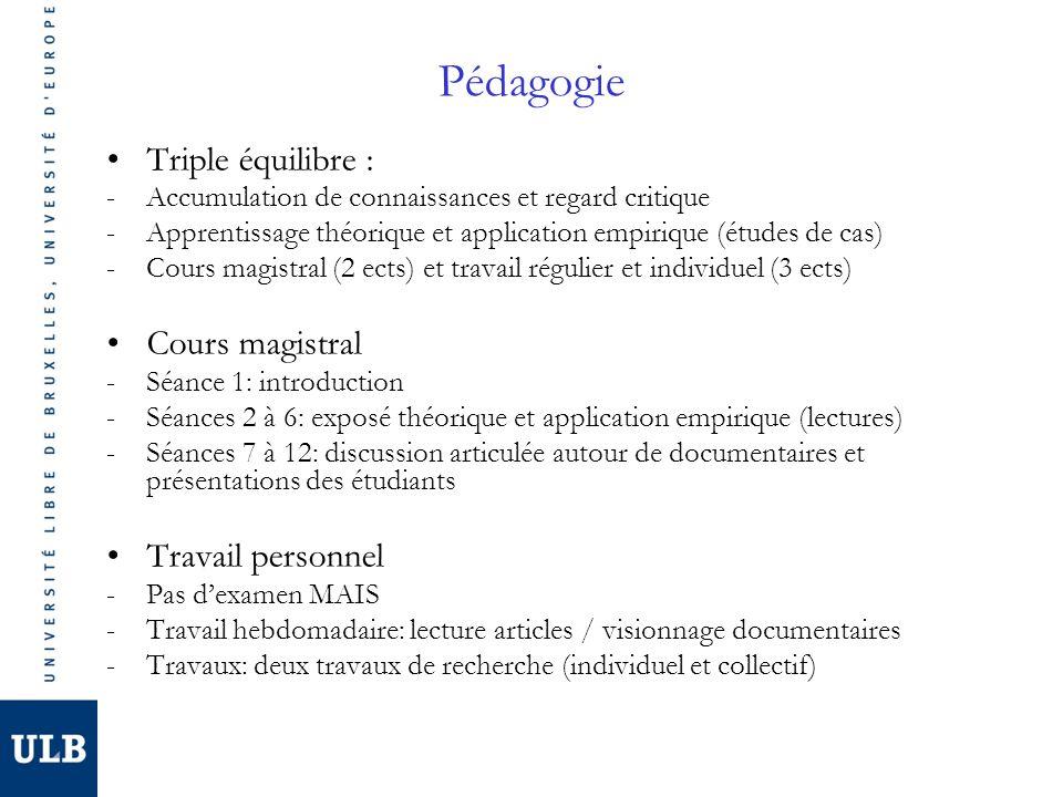 Pédagogie Triple équilibre : Cours magistral Travail personnel
