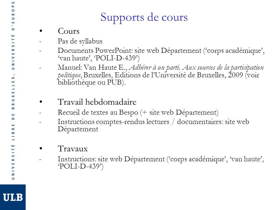 Supports de cours Cours Travail hebdomadaire Travaux Pas de syllabus
