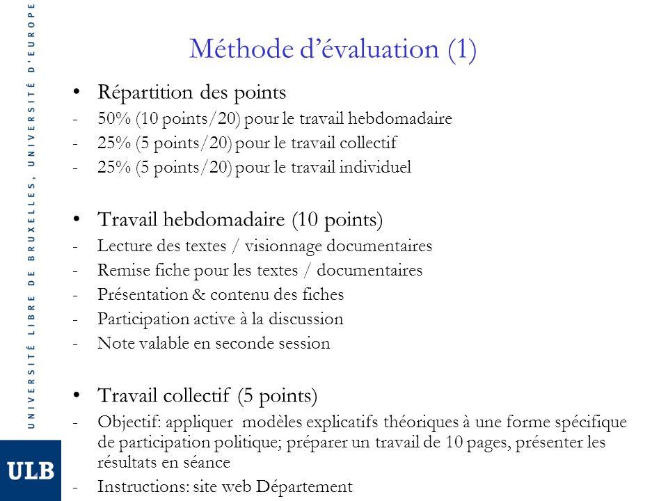 Méthode d'évaluation (1)