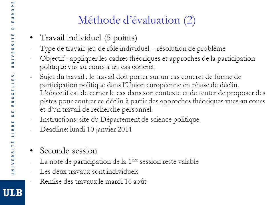 Méthode d'évaluation (2)