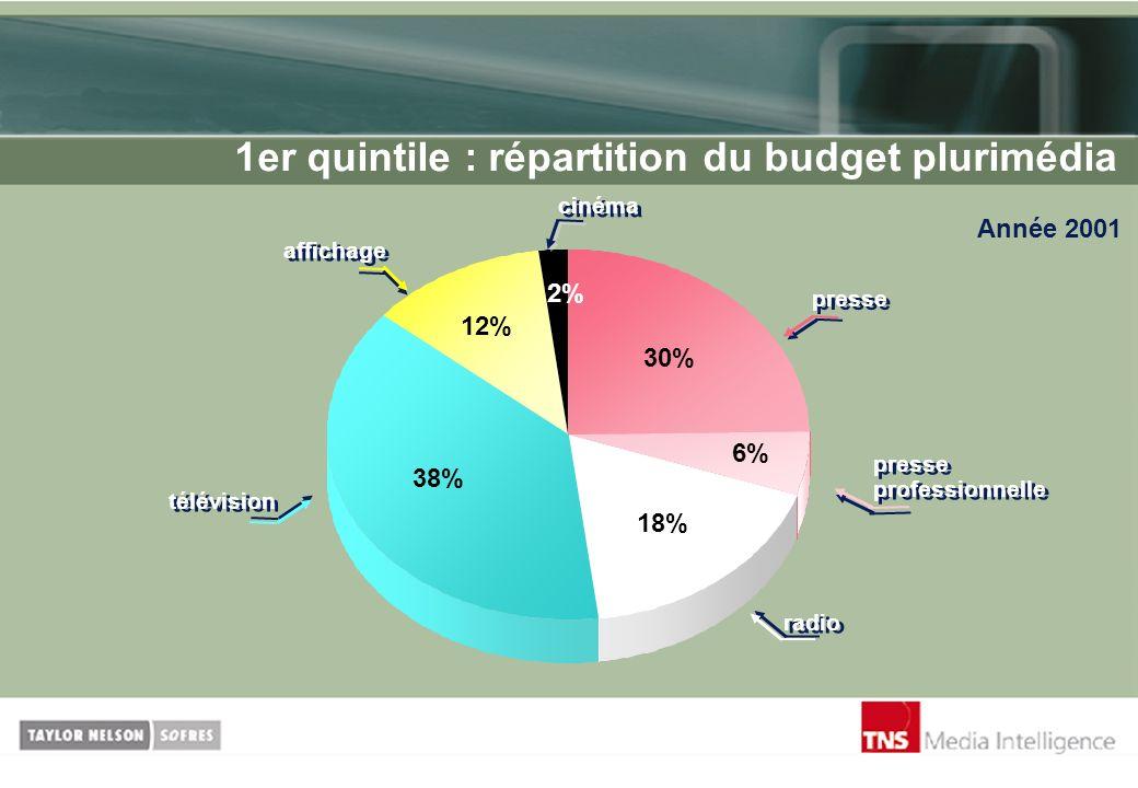 1er quintile : répartition du budget plurimédia