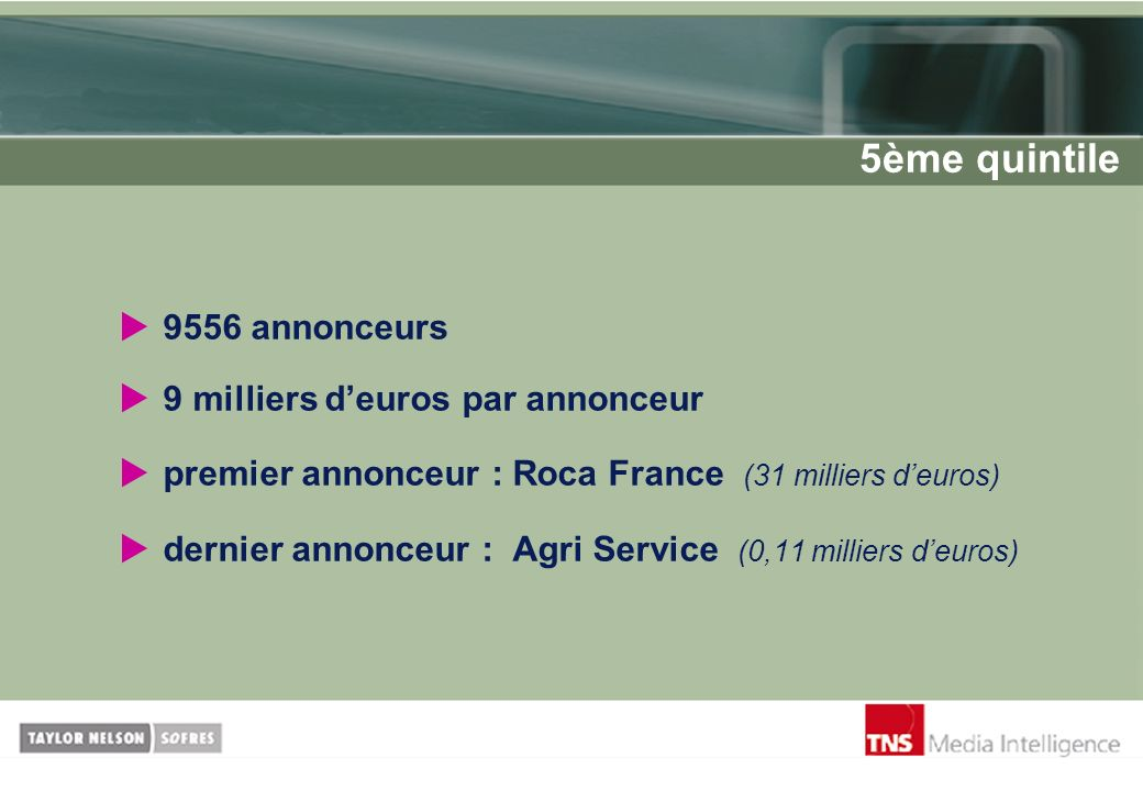5ème quintile 9556 annonceurs 9 milliers d'euros par annonceur
