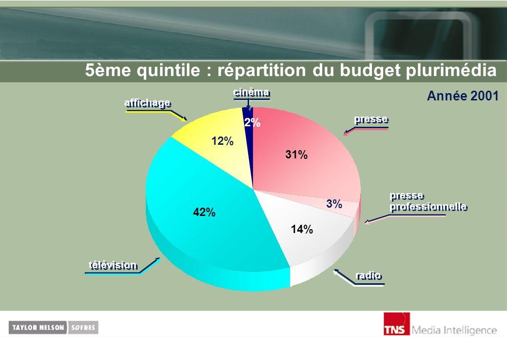 5ème quintile : répartition du budget plurimédia
