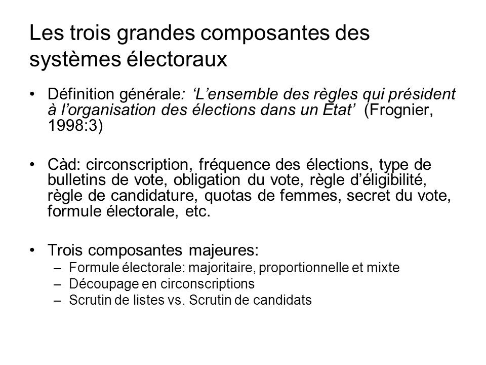 Les trois grandes composantes des systèmes électoraux