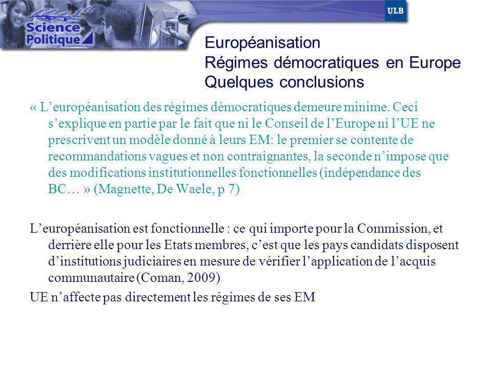Régimes démocratiques en Europe Quelques conclusions