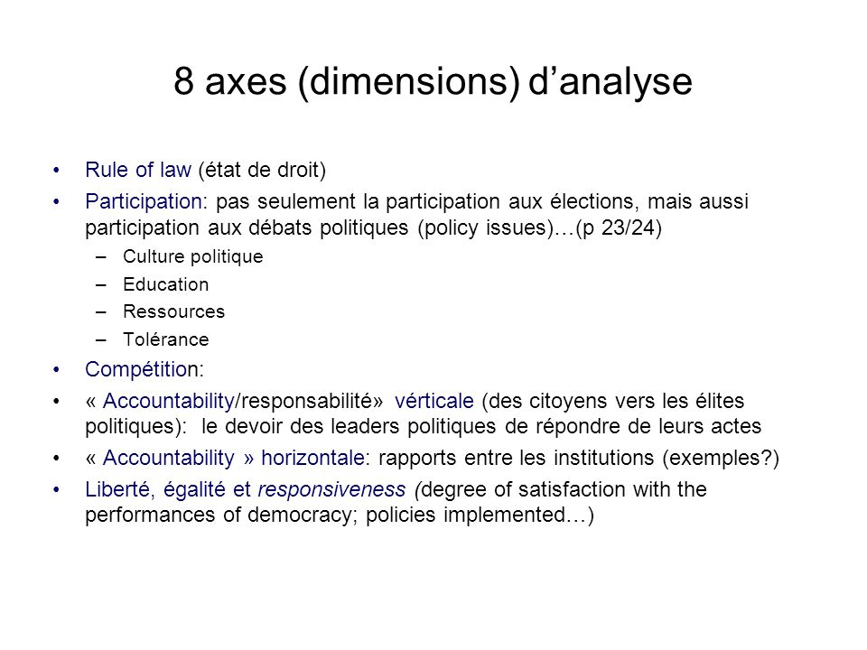8 axes (dimensions) d'analyse