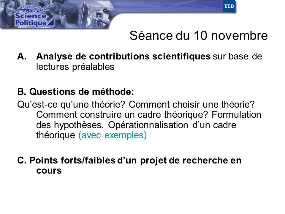 Séance du 10 novembre Analyse de contributions scientifiques sur base de lectures préalables. B. Questions de méthode: