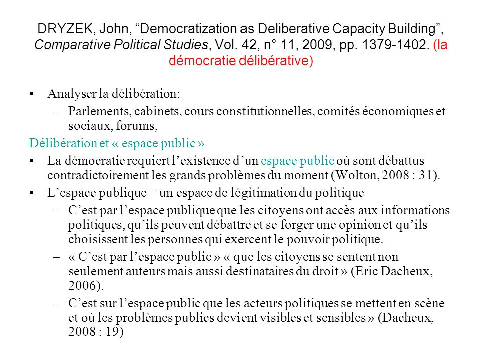DRYZEK, John, Democratization as Deliberative Capacity Building , Comparative Political Studies, Vol. 42, n° 11, 2009, pp. 1379-1402. (la démocratie délibérative)