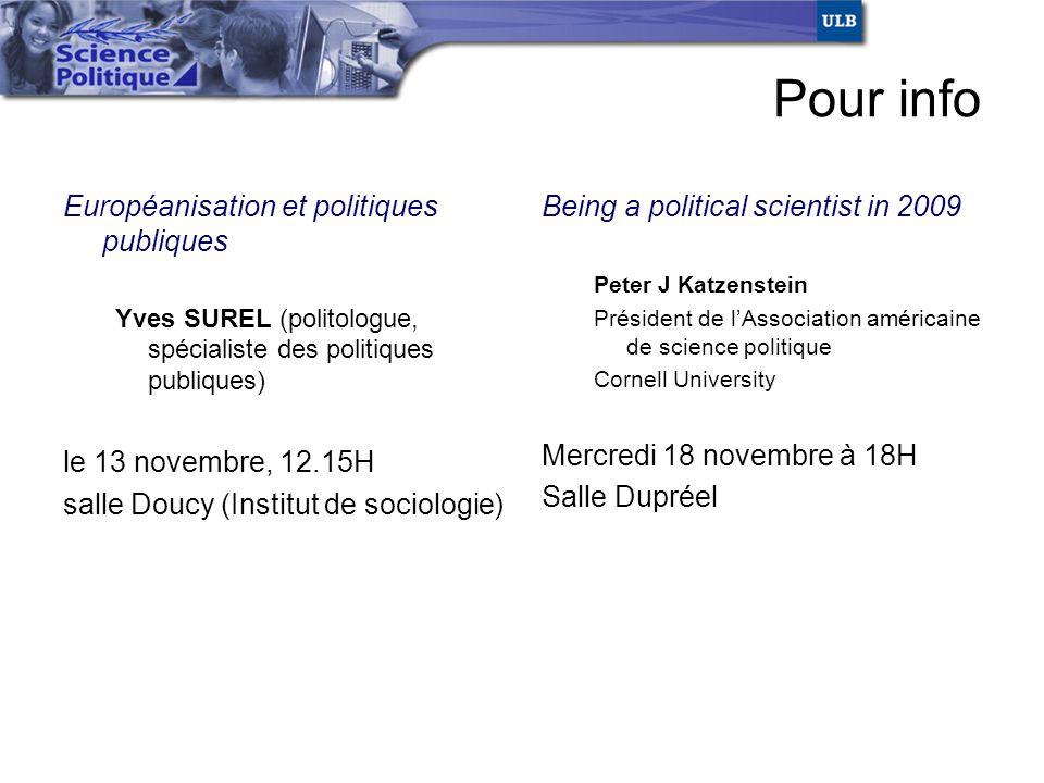 Pour info Européanisation et politiques publiques