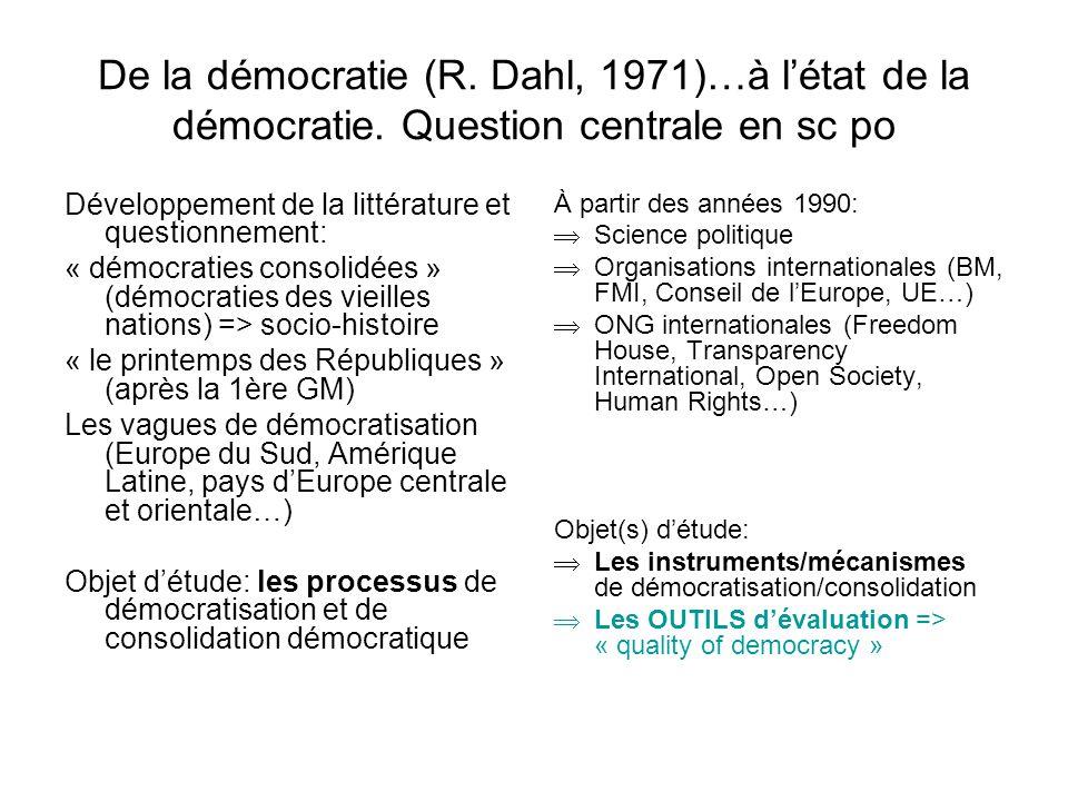 De la démocratie (R. Dahl, 1971)…à l'état de la démocratie