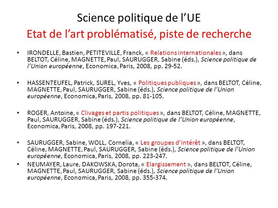 Science politique de l'UE Etat de l'art problématisé, piste de recherche