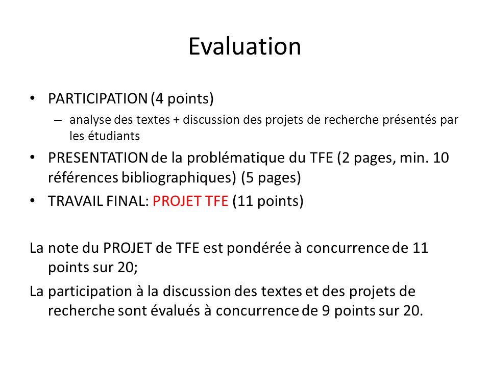 Evaluation PARTICIPATION (4 points)