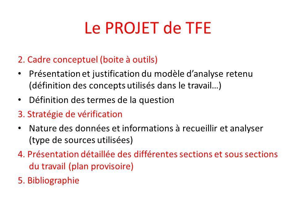 Le PROJET de TFE 2. Cadre conceptuel (boite à outils)