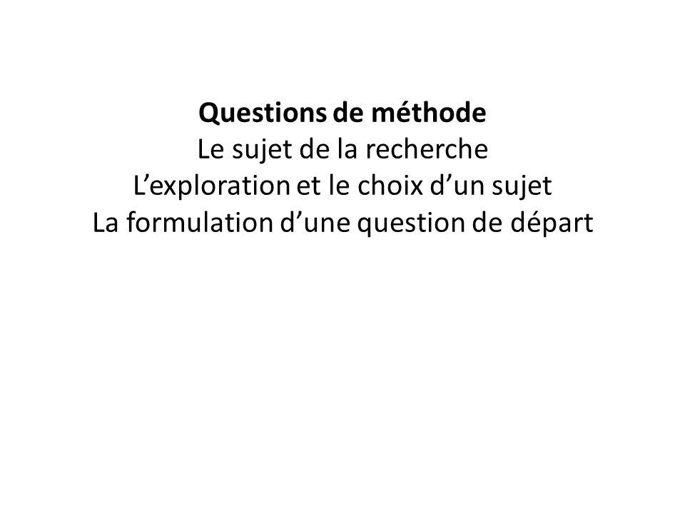 Questions de méthode Le sujet de la recherche L'exploration et le choix d'un sujet La formulation d'une question de départ