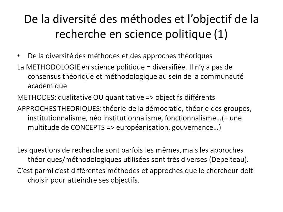 De la diversité des méthodes et l'objectif de la recherche en science politique (1)