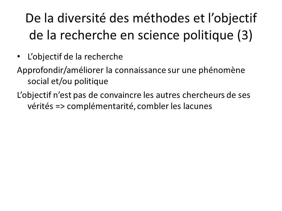De la diversité des méthodes et l'objectif de la recherche en science politique (3)