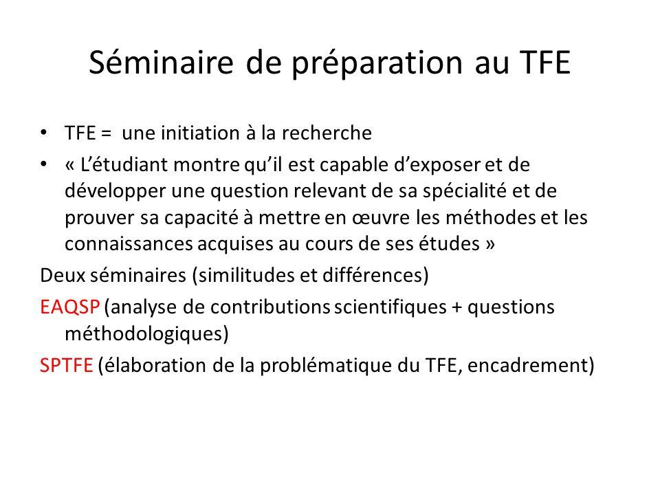 Séminaire de préparation au TFE