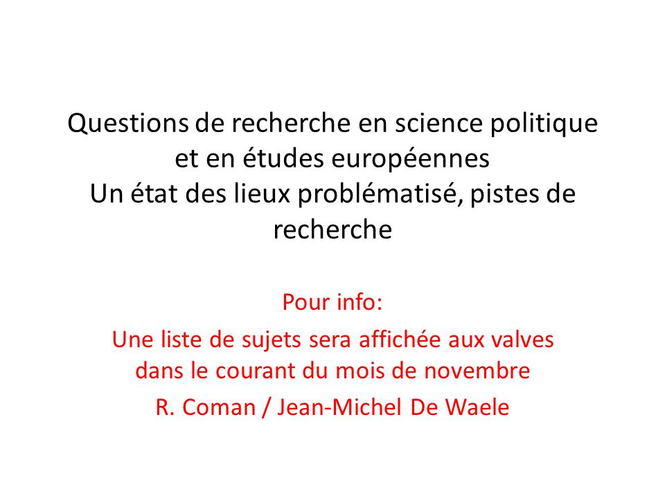 R. Coman / Jean-Michel De Waele