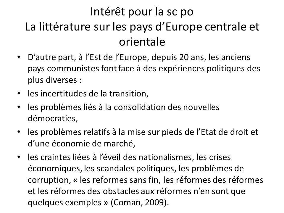 Intérêt pour la sc po La littérature sur les pays d'Europe centrale et orientale