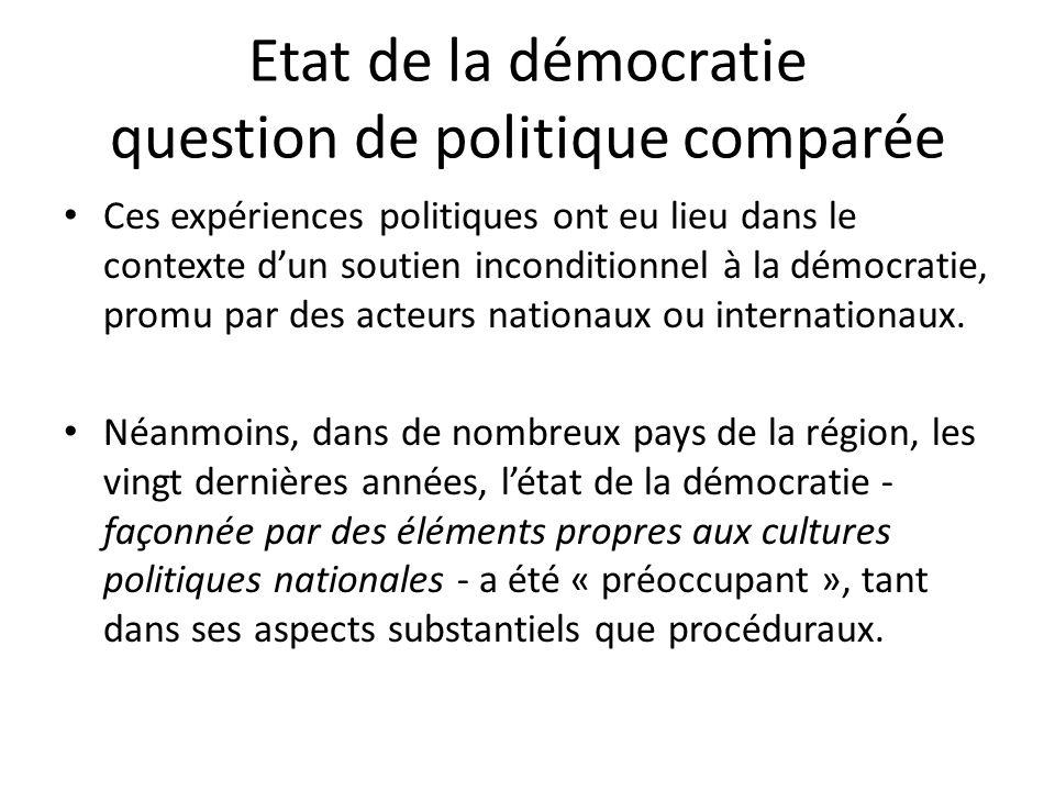 Etat de la démocratie question de politique comparée