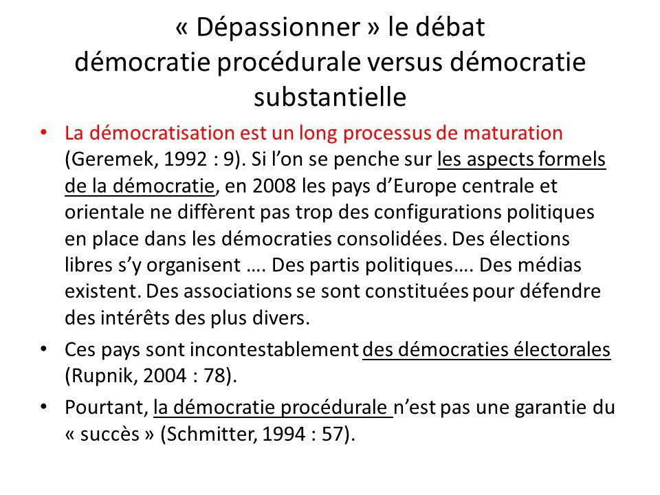 « Dépassionner » le débat démocratie procédurale versus démocratie substantielle