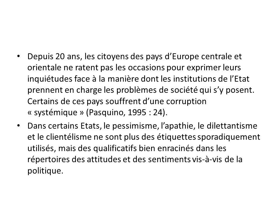 Depuis 20 ans, les citoyens des pays d'Europe centrale et orientale ne ratent pas les occasions pour exprimer leurs inquiétudes face à la manière dont les institutions de l'Etat prennent en charge les problèmes de société qui s'y posent. Certains de ces pays souffrent d'une corruption « systémique » (Pasquino, 1995 : 24).