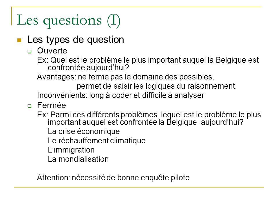 Les questions (I) Les types de question Ouverte Fermée