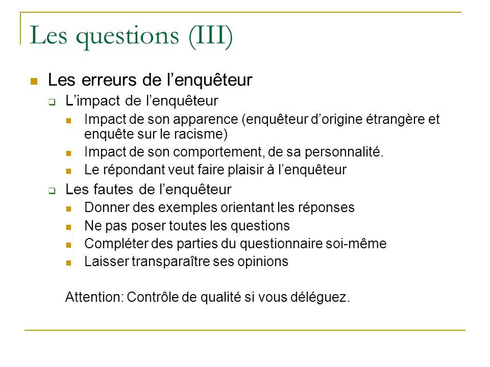 Les questions (III) Les erreurs de l'enquêteur L'impact de l'enquêteur