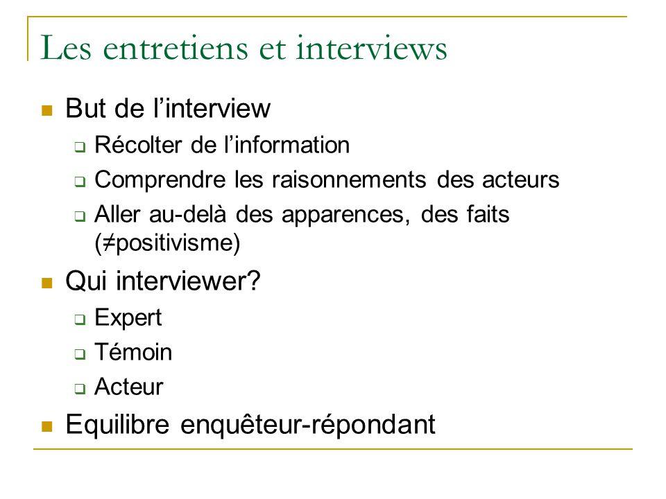 Les entretiens et interviews