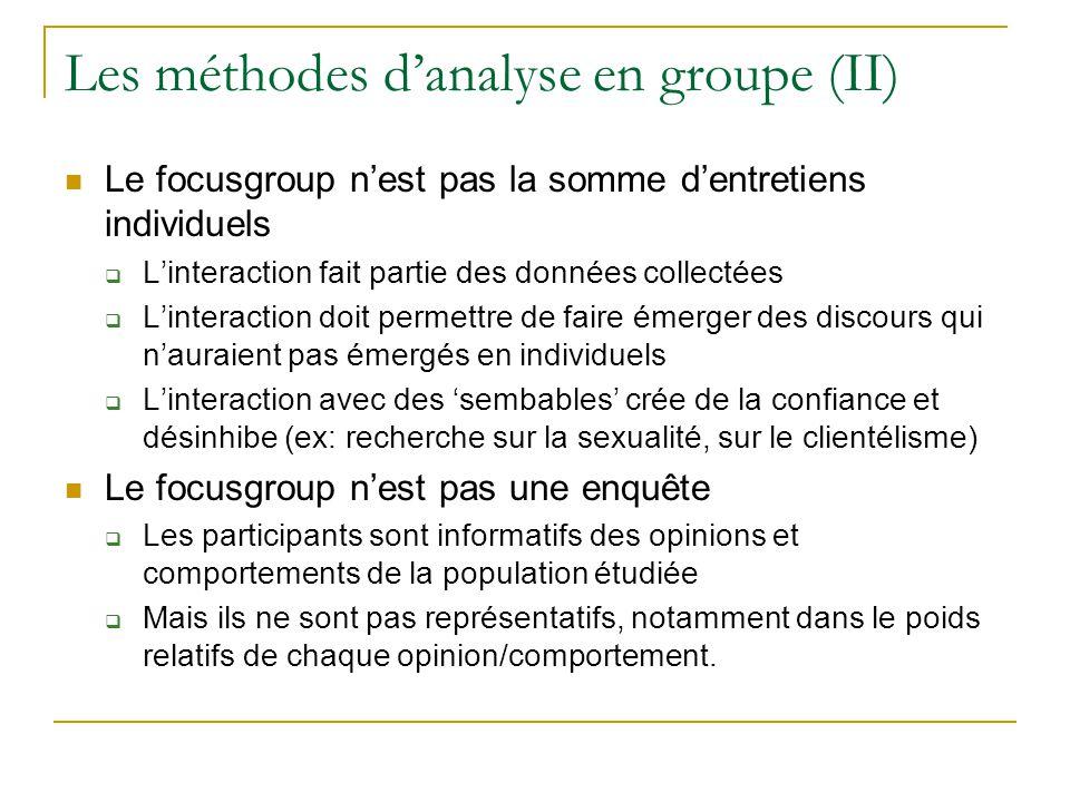 Les méthodes d'analyse en groupe (II)